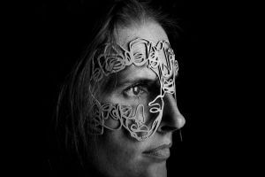 Mask by Salventius and model Floor van Kollenburg with black background