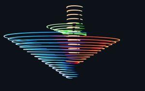 RGB led lights shot with long exposure. on platform 3734