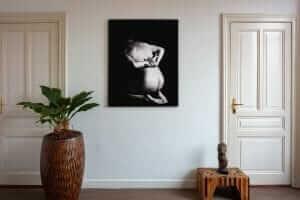 Artwork StillMoving Black 7338 framed and hung on wall