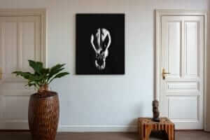 Artwork StillMoving Black 7314 framed and hung on wall