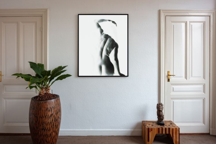 Artwork StillMoving White 7338 framed and hung on wall