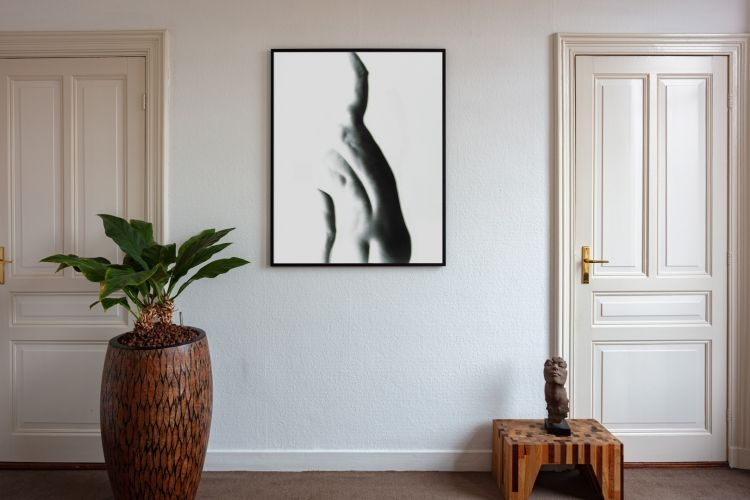 Artwork StillMoving White 7359 framed and hung on wall