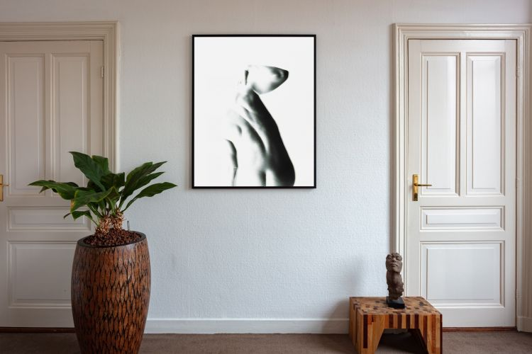 Artwork StillMoving White 7361 framed and hung on wall