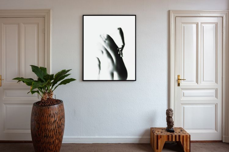 Artwork StillMoving White 7363 framed and hung on wall